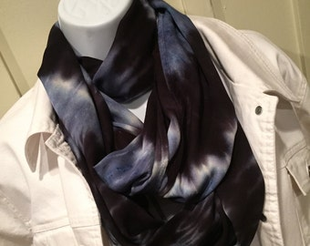 Tye dye scarf, Tie dyed rayon scarf, Hand dyed scarf, Infinity scarf, Black and wedgewood blue scarf, circle scarf