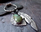 Raven Feather and Turquoise Pendant Necklace // hand forged feather // bezel set turquoise // silversmith jewelry (3582)