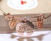 Autumn Bracelet Fall Bracelet Autumn Bangle Rose Gold Bangle Tree of Life  Bracelet Tree of Life Bangle Pine Cone Bangle
