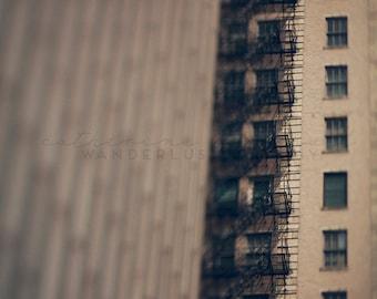 Chicago Fire Escapes - Photographic Print - Photography, skyscraper, cityscape, chicagoland, urban, architecture, details, windows