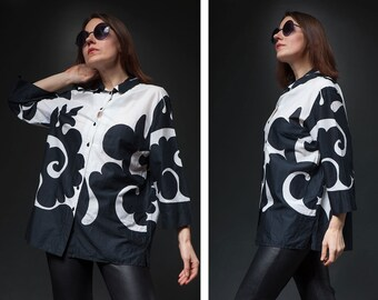 Marimekko Vintage Woman  90s  blouse/ black white abstract print cotton blouse casual shirt/ L