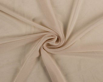 Ivory C Stretch Poly Power Mesh Fabric By the Yard, Soft Sheer Drape Mesh Fabric, Stretch Mesh Fabric, Performance Mesh Fabric  Style 453