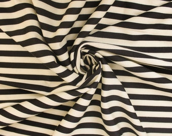 Cream and Black Stripes Printed Ponte Roma by the yard  - 1 Yard Style 6561