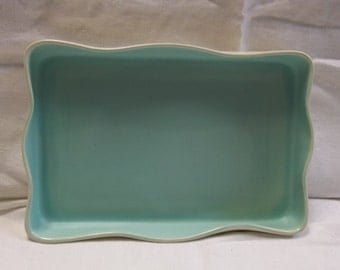 Vintage Ceramic Turquoise and White Shallow Dish, T