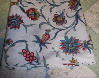 75% OFF!!!  Vintage, Floral on White Two Twin Bed Bed Skirts with one Pillow Case, ca 1990's, S