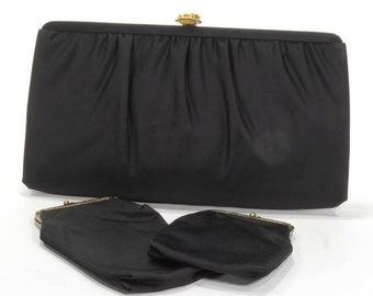 Vintage 1960's Women's After Five Black Satin Evening Clutch Purse with Gold Chain Handle Plus 2 Matching Smaller Purses