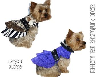Steampunk Dog Dress Pattern 1591  * Large & XLarge * Designer Dog Clothes Sewing Pattern * Steampunk Dog Harness Dress * Dog Apparel