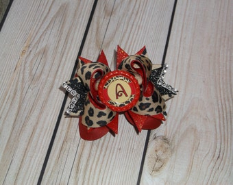 Leopard and Red Mini Stacked Bow with Initial Bottle Cap Center-Tiny Bow-Mini Hair Bow-Baby Bow-Red Boutique Bow, Micro Stacked Bow-3.5""