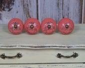 1-Paris Knob-Pink-Ceramic Front-Shabby Chic Dresser Drawer Pull