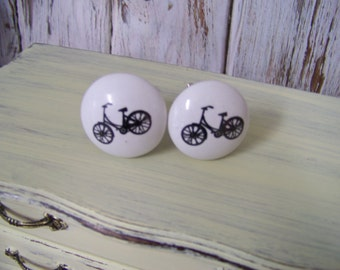 Bicycle Knob-Ceramic Front-Shabby Chic Dresser Drawer Pull