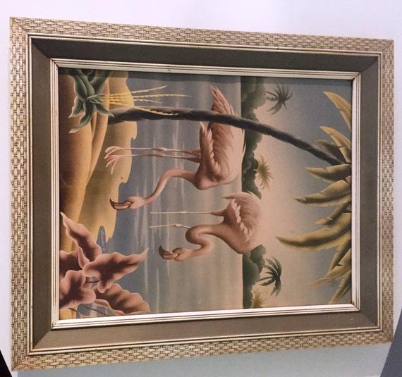Mid Century Framed Flamingos Print Turner Manufacturing
