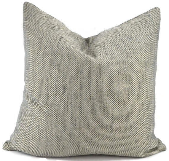 Woven Shades of Gray Blue Gray & Beige Pillow Cover Throw