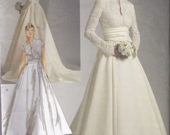 V2979 Vogue Wedding Dress and Sash Sewing Pattern Sizes 18-20-22 Average Difficulty Grace Kelly Wedding Dress
