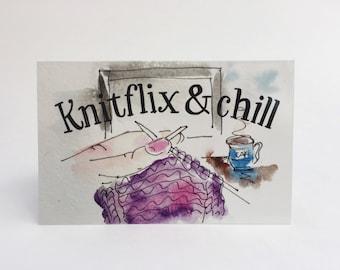 Knitflix & Chill // crochet card // knitting card // yarn card // gift for knitters // gift for mom // gift for friend // crocheting gift