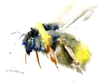 "Bee, original watercolor painting, 7"" X 5"", bee art, bee painting, flying bee, abstract bee art"