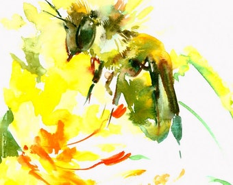 Bee and Flower 10 X 8 in, original watercolor painting