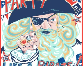 """Nautical greeting card with """"Party like a pirate"""" caption and design"""