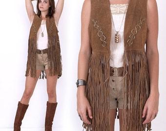 70's Suede FRINGE Leather VEST Hippie Boho Tan Vintage Festival Jacket S/M