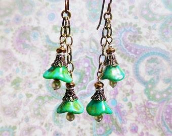 Diy Earring Kit Turquoise Green Glass