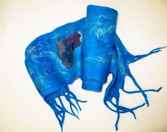 Handmade Felted Scarf  Neckpiece. Wool . Felted wool scarf Stole Poncho