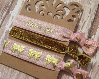 Pink and Gold Flower Girl Hair Tie Set