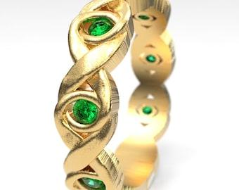 Celtic Emerald Wedding Ring With Infinity Knot Design in 10K 14K 18K Gold, Palladium or Platinum, Emerald Celtic Knot Ring, Custom Size 1107