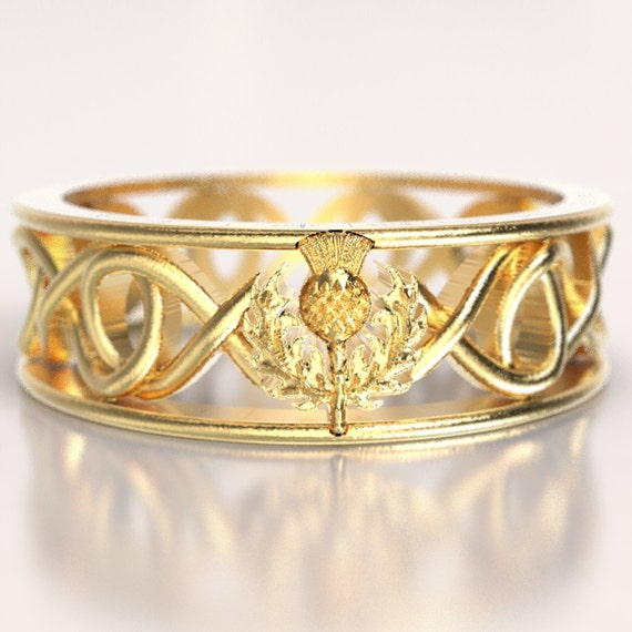 Gold Celtic Ring With Scottish Thistle and Cut Through Infinity Symbol Design in 10K 14K 18K or Palladium, Made in Your Size Cr-5015