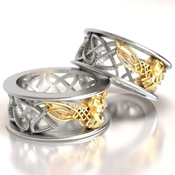 Celtic Wedding Ring Set His And Her Gold Owl By CelticEternity