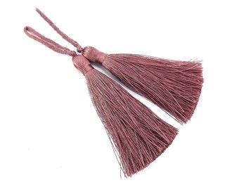 Long Dusty Mauve Silk Thread Tassels -  3 inches - 77mm  - 2 pc