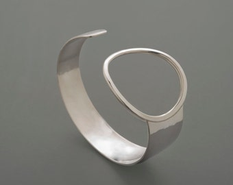 Sterling Silver Ring Cuff, silver cuff, sterling cuff, hammered, forged, handmade, bracelet