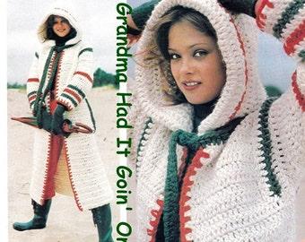 Vintage 70's Crochet Cowl Hooded Coat - PDF Instant Download Pattern - Long Sweater Coat Pattern -  Vintage Hooded Coat - Digital Pattern