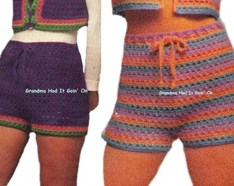 Crochet Shorts Pattern - PDF Instant Download - HIPPIE Pants - Gym Shorts - Digital Pattern - Workout Shorts - Hip Hugger Hot Pants