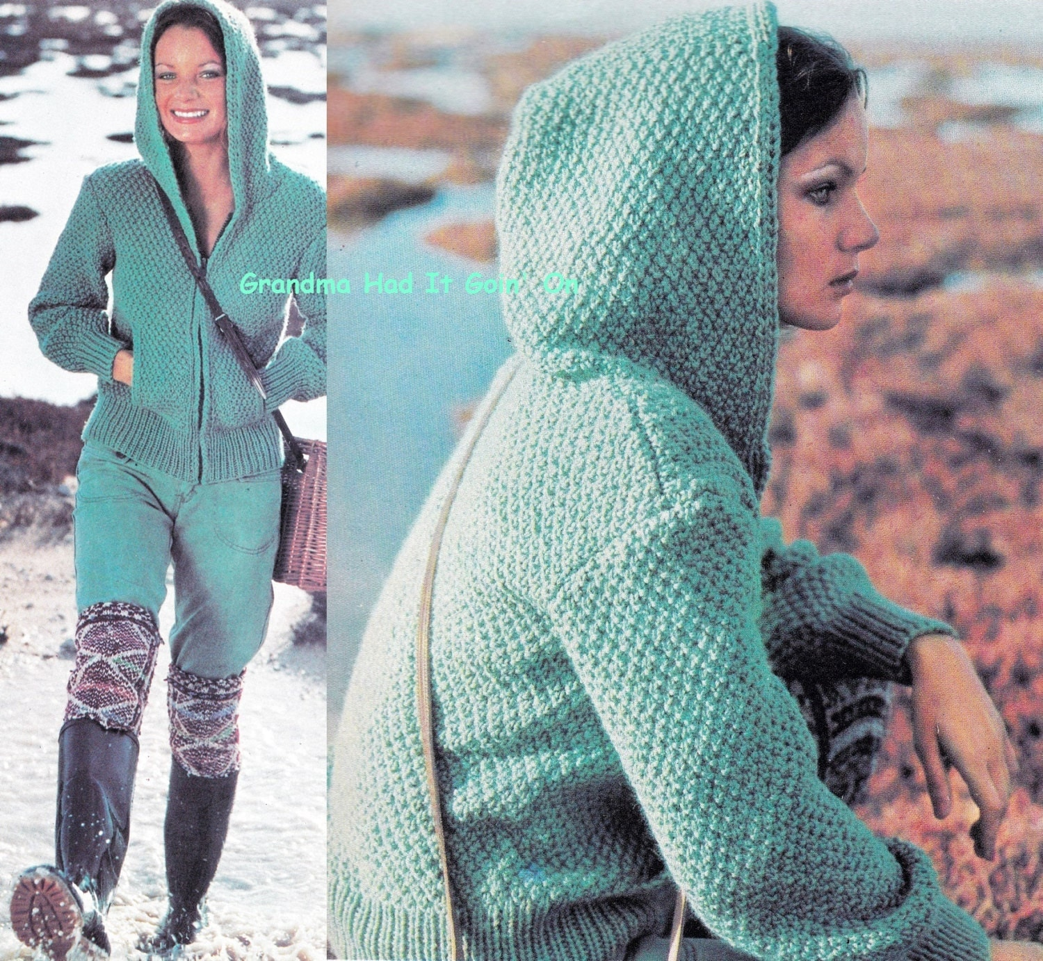 Zippered Hoodie Knitting Pattern : Lumber Jacket KNITTING PATTERN Chunky Hooded Sweater