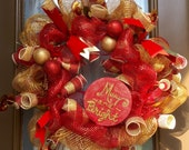 Festive Red & Gold Merry and Bright deco mesh wreath