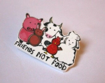 Friends not Food! vegetarian, vegan, animal loving brooch