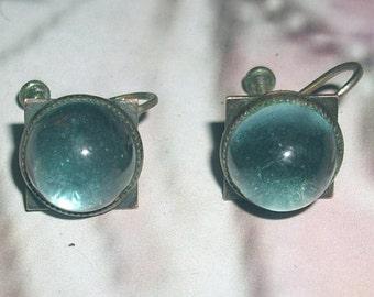 Vintage Blue Screw Back Earrings #133