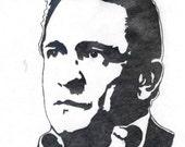 Johnny Cash Wood Burnt Portrait