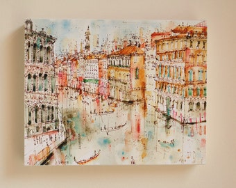 VENICE CANVAS ART, Grand Canal Venice Watercolor Painting by Clare Caulfield, Venice Wall Art, Italy Home Decor, View from Rialto Bridge