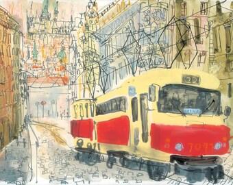 Prague Tram Watercolor Painting, Czech Wall Art, Prague Signed Print, Red Tram Drawing, Building Architecture, Prague Sketch Clare Caulfield