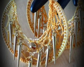 Spike Studded Crochet Hoop Earrings