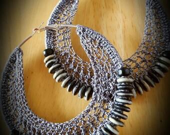 Grey and Black Beaded Crochet Hoop Earrings