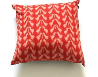 Pillow Cover- Orange Ikat Tulip- Handwoven- 20x20 Throw Pillow