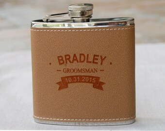 Personalized Groomsmen Gift, Leather Flask, Rustic Wedding, Best Man Gift, Groomsman Gift, Groomsmen Gift, Wedding Party Gift, Gifts for Men