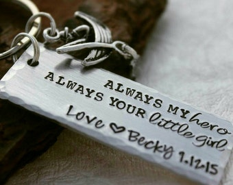 Always my Hero, Always your Little Girl - Dad Keychain - Father of the Bride Gift - Father's Day gift - Dad Gift - Grandpa Keychain - Dad
