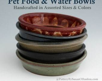 Pet Food or Water Bowl Small Dog Cat Ceramic Stoneware Handmade Pottery Available in SMALL, MEDIUM & LARGE and in tan blue black white green