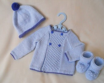 Hand Knitted Baby Boy Coat Jacket & Hat Set baby gift