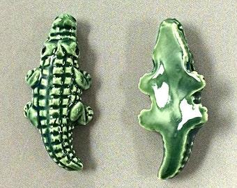 4 Pc Large Glazed Alligator Beads, Ceramic Animal Beads, 2.6mm Large Hole, Animal Beads 37 x15mm Peruvian Beads - PC09