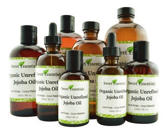 Organic Unrefined Jojoba Oil | Imported From Argentina | Golden | Cold Pressed | 100% Pure | For Hair, Skin & Nails | By Sweet Essentials