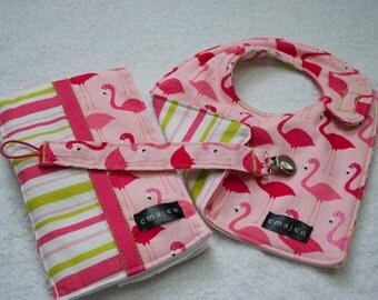 Matching Bib, Burp Cloth and Pacifier Clip ~ Flamingos
