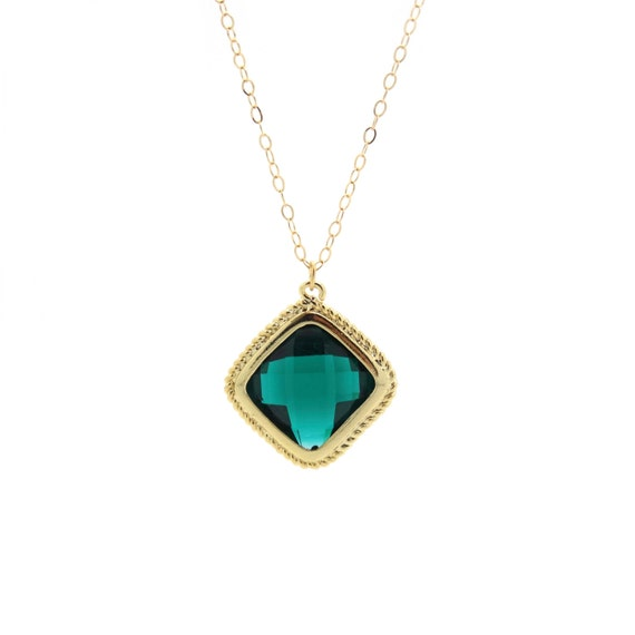 Emerald Green Necklace, Emerald Necklace, Green Pendant, Green Necklace, Delicate Gold Necklace, Dainty Gold Filled Chain, 4k Gold